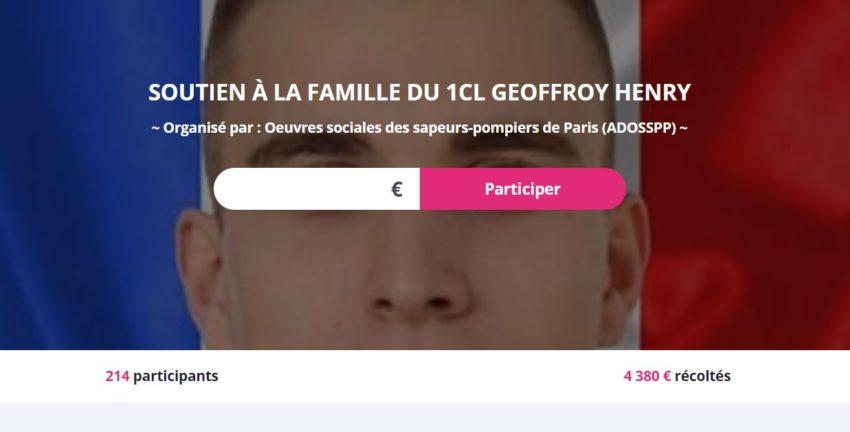 Cagnotte en ligne sur Le Pot Commun en soutien à la famille du sapeur-pompier Geoffroy HENRY. Cagnotte officielle par ADOSSPP