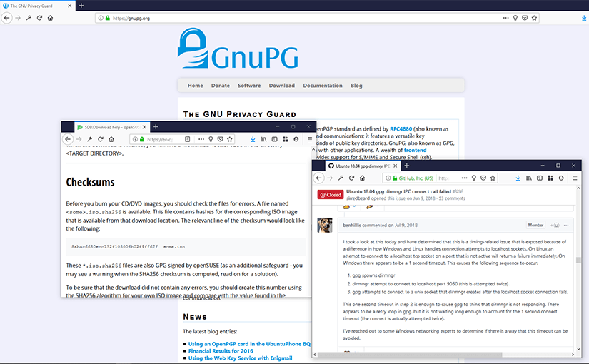Web pages for GnuPG, openSUSE and GitHub