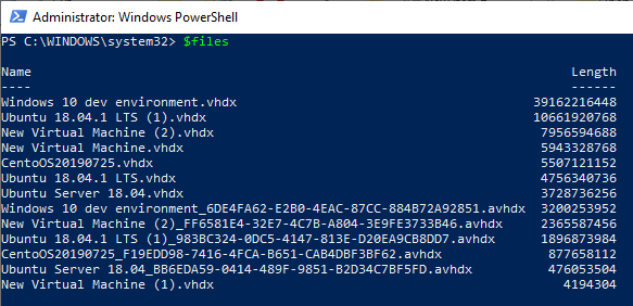 A listing of the contents of Hyper-V's default VHD directory