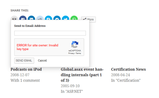 ERROR for site owner: Invalid key type
