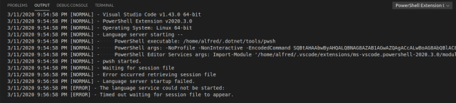 PowerShell Extension Output log