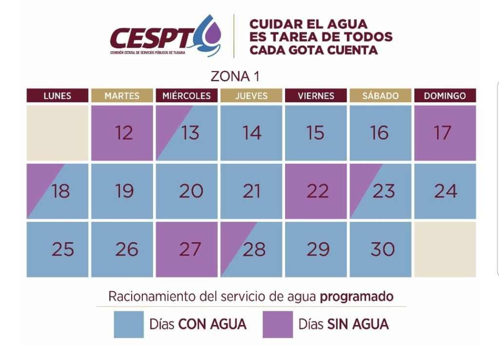 Lista publicada por la Comisión Estatal de Servicios Públicos de Tijuana CESPT con colonias programadas para corte de agua