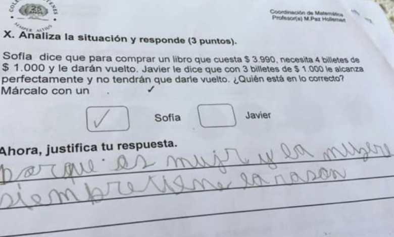 Photo of 'Las mujeres siempre tienen la razón', la respuesta viral en un examen