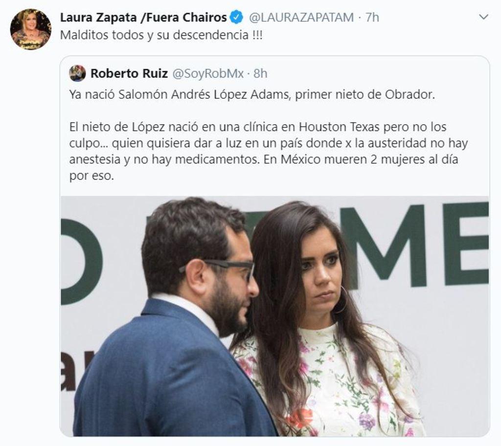 Laura Zapata maldice a nieto de López Obrador