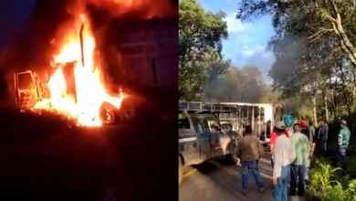 VIDEO-Células-criminales-bloquean-carreteras-y-queman-autos