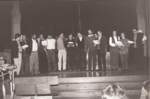 XX Aniversário da Revolução dos Cravos: Grupo Hedral em 1994 no Instituto Eusébio da Guarda da Corunha