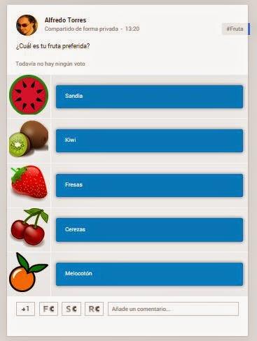 publicacion finalizada de encuesta en Google+