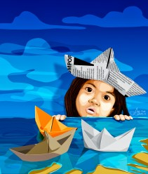 """The Paper Boats"" by Alf Sukatmo. Vector artwork."