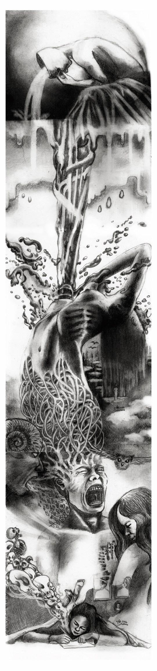 """Histórica: Paranoia"" Pencil, charcoal on paper ©Alf Sukatmo. 2016"