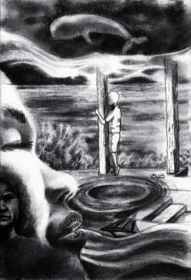 """""""Obscure Tale From The Sea"""" Charcoal on paper ©Alf Sukatmo. 2016"""