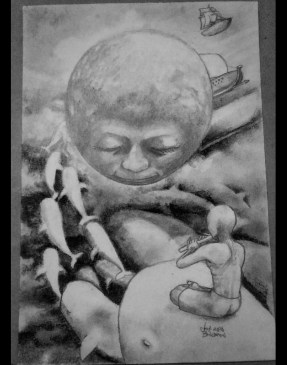 """""""The Journey to A Dream"""" Pencil, charcoal on paper ©Alf Sukatmo. 2016"""