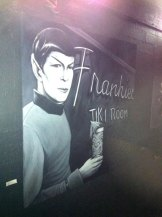 """Last night's TTH3 stopped here for a beer check...it's changed a lot since I was last there (probably 3 years ago at the RDR). They now have art for sale on the walls, such as this one, """"Tiki Logic."""" :-)"""