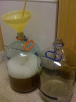 Siphoning the cooled wort into the fermenters...almost done for the evening.