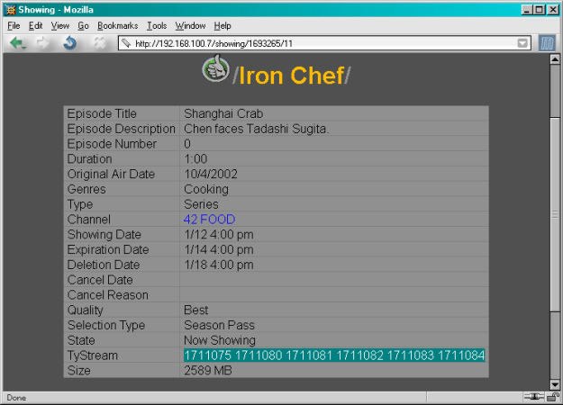 TivoWeb listing for an Iron Chef episode