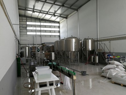 the brewery tanks