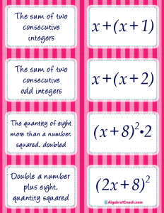 Translating Algebraic Expressions Card Matching Activity - Page 5