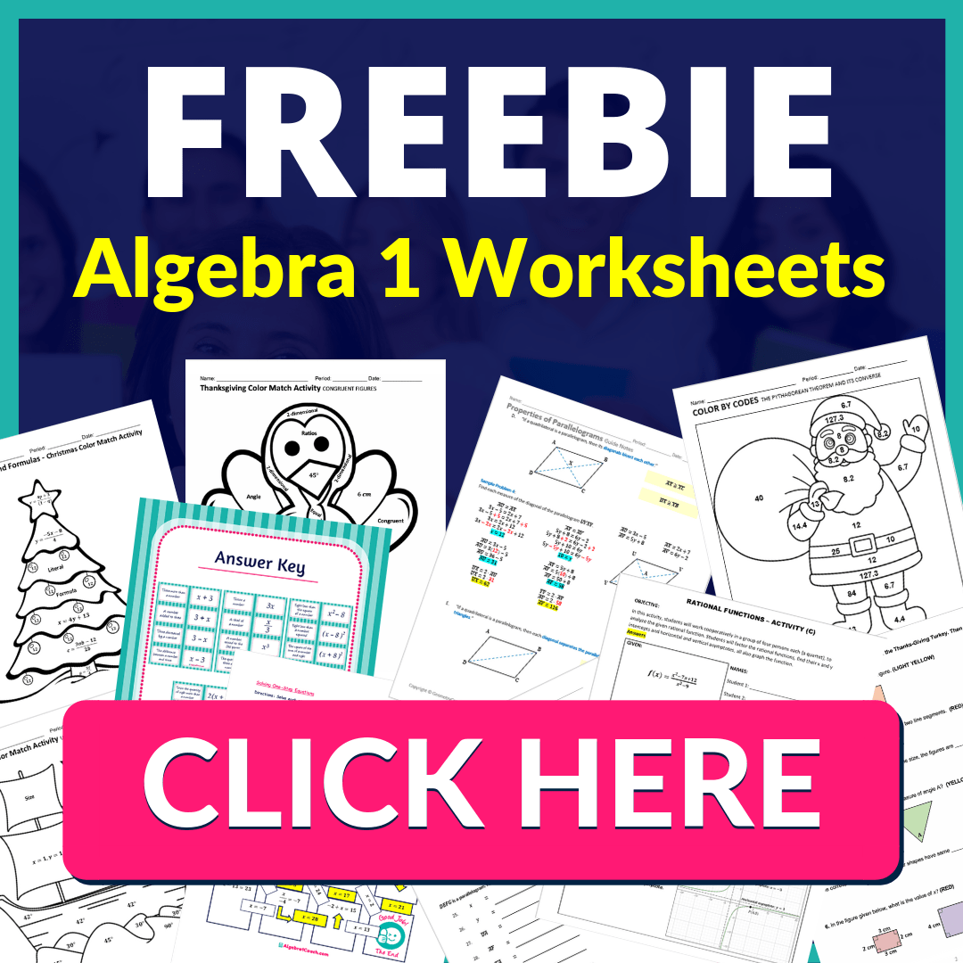 FREEBIE ALgebra 1 Worksheets