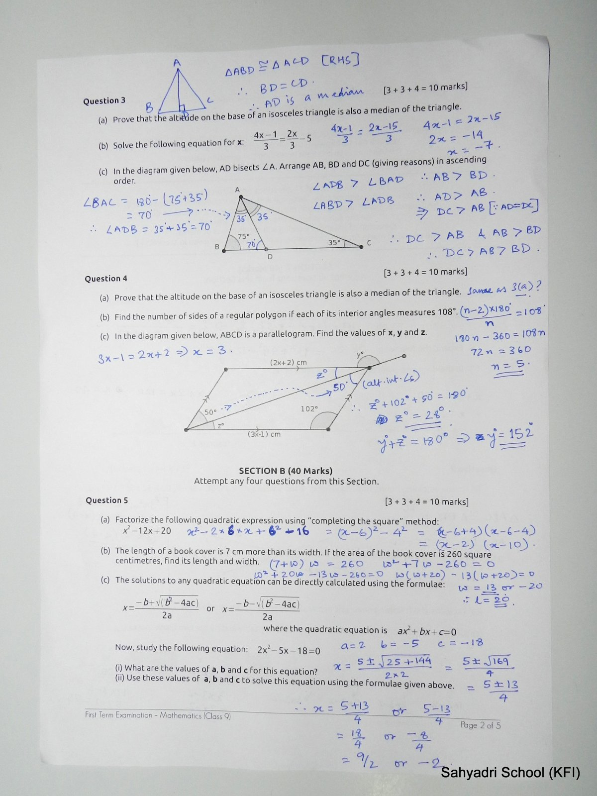 Solutions For Monsoon Term End Exam Paper