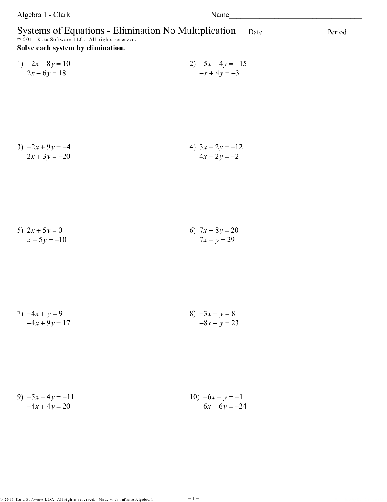 Algebra 1 Solving Systems By Elimination Worksheet Answers