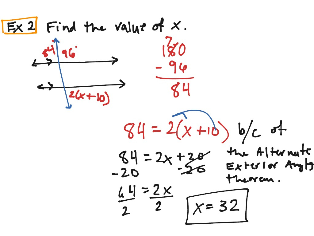 Parallel Lines And Transversals And Algebra Worksheet