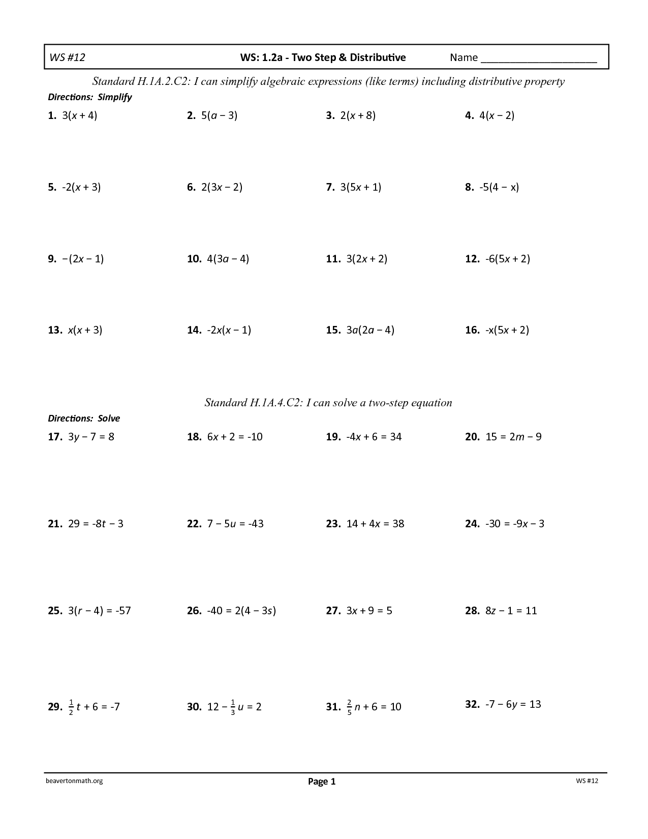 Unit 5 Two Step Equations Distributive Property Worksheet