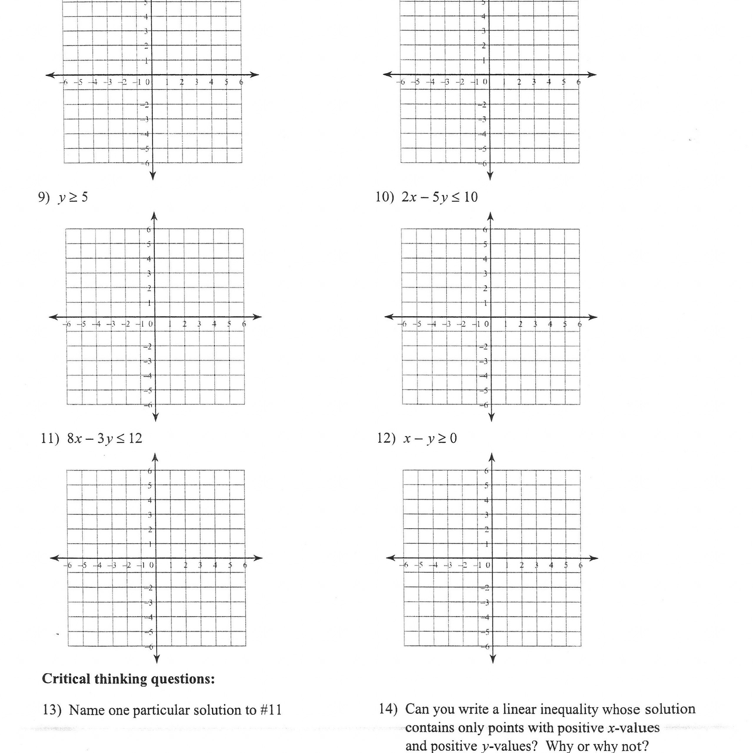 Algebra 2 Inequalities Worksheet Answers
