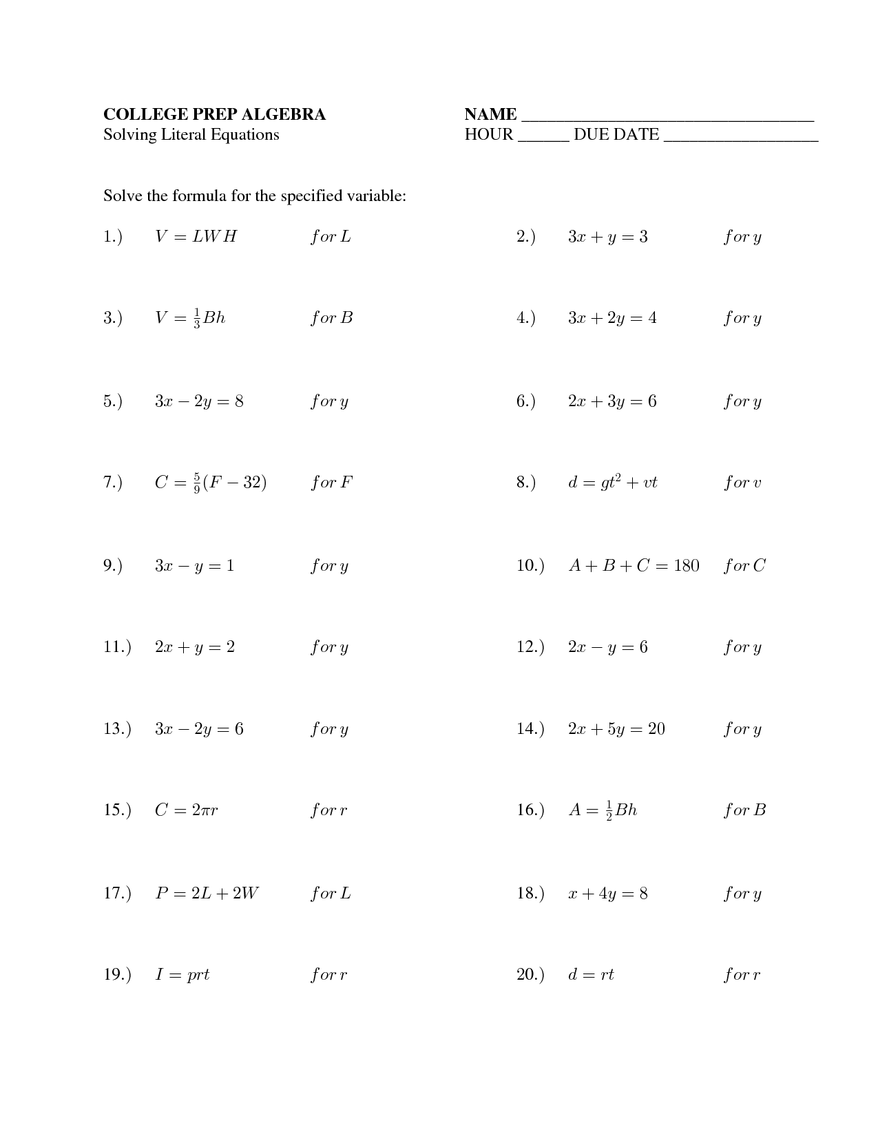 59 Fabulous Two Step Equations Worksheet Template Photo