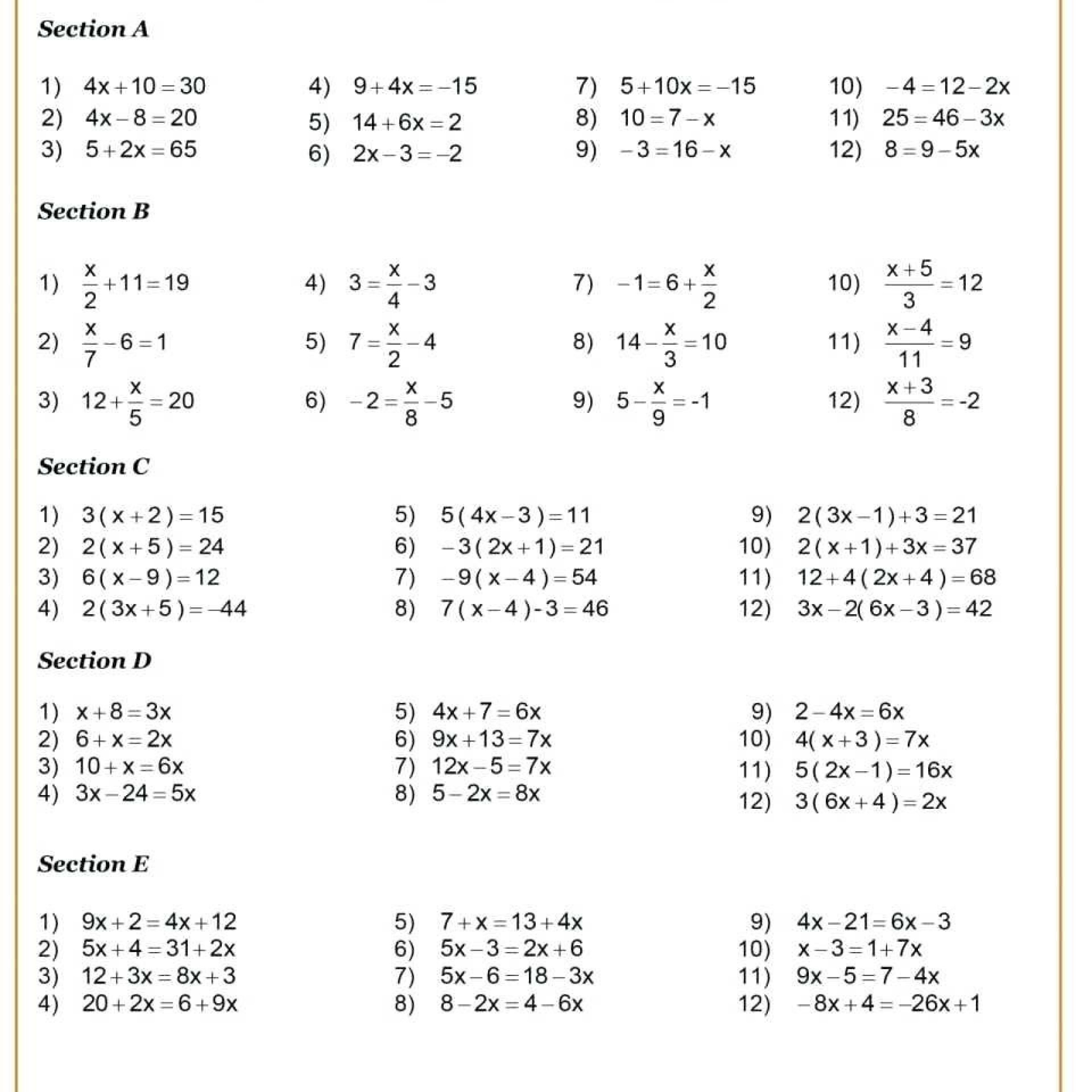 9th Grade Algebra 1 Printable Worksheets
