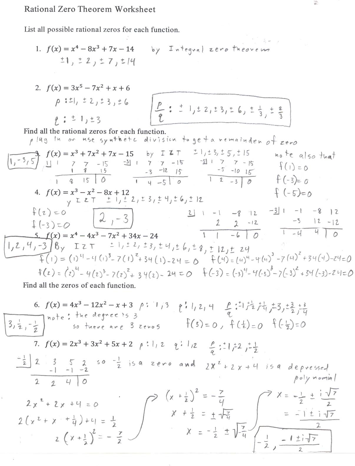 Algebra 2 Polynomials Worksheet Answers