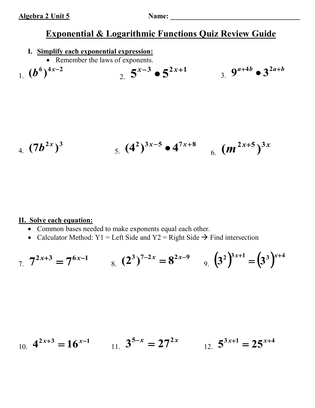 Algebra 2 Exponential Functions Worksheet