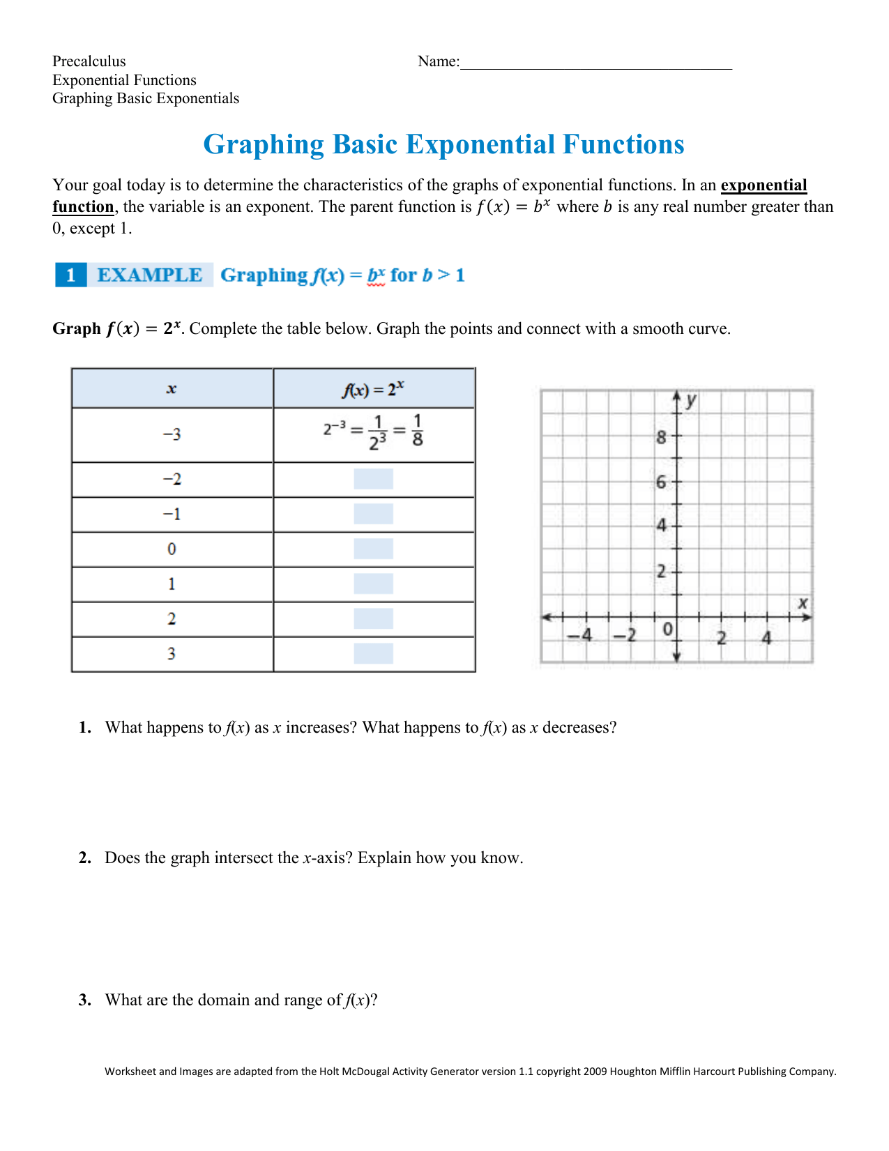 Algebra 2 Exponential Functions Worksheet Answers