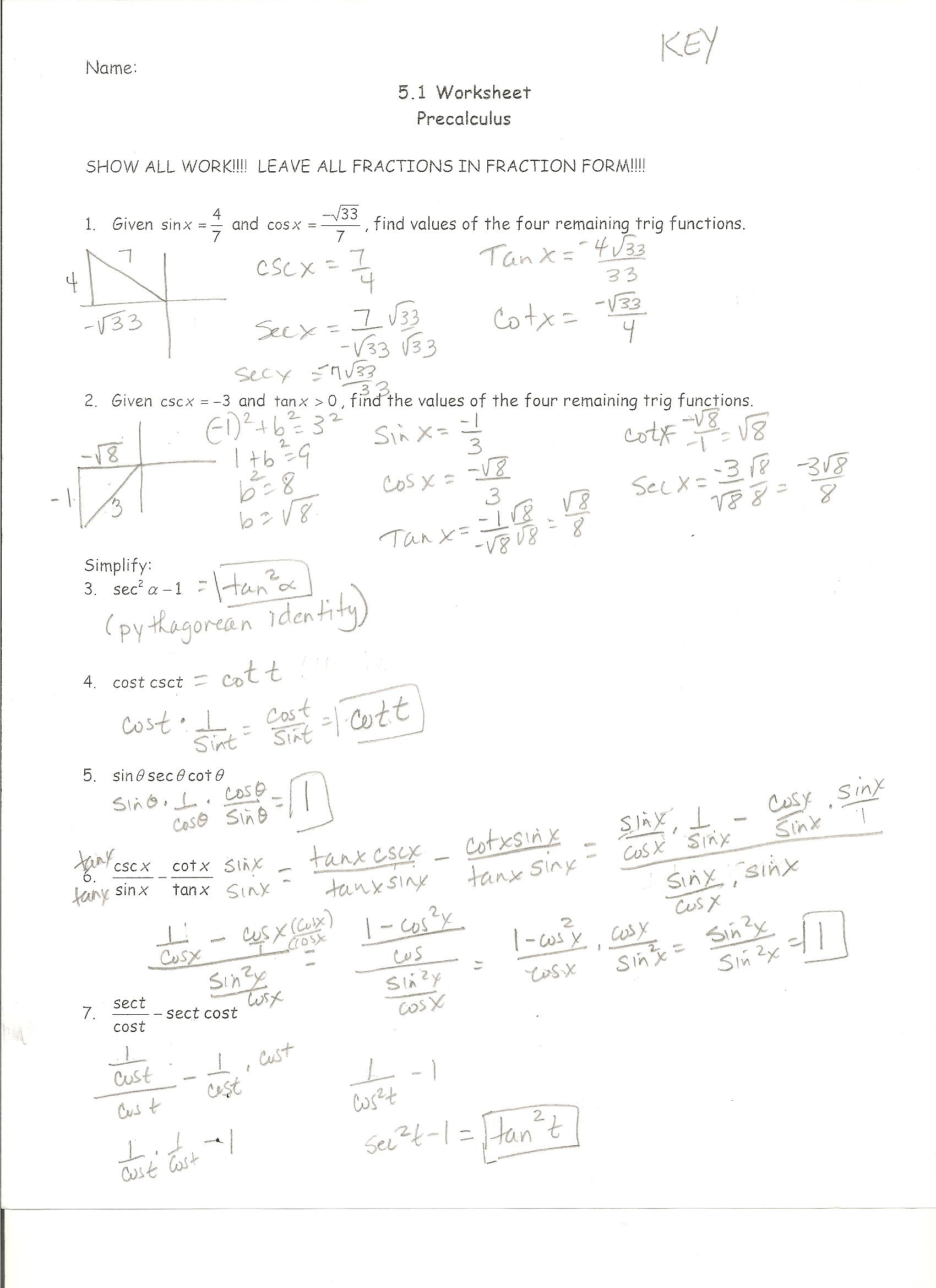 Elementary Algebra And Functions Worksheets With Answers
