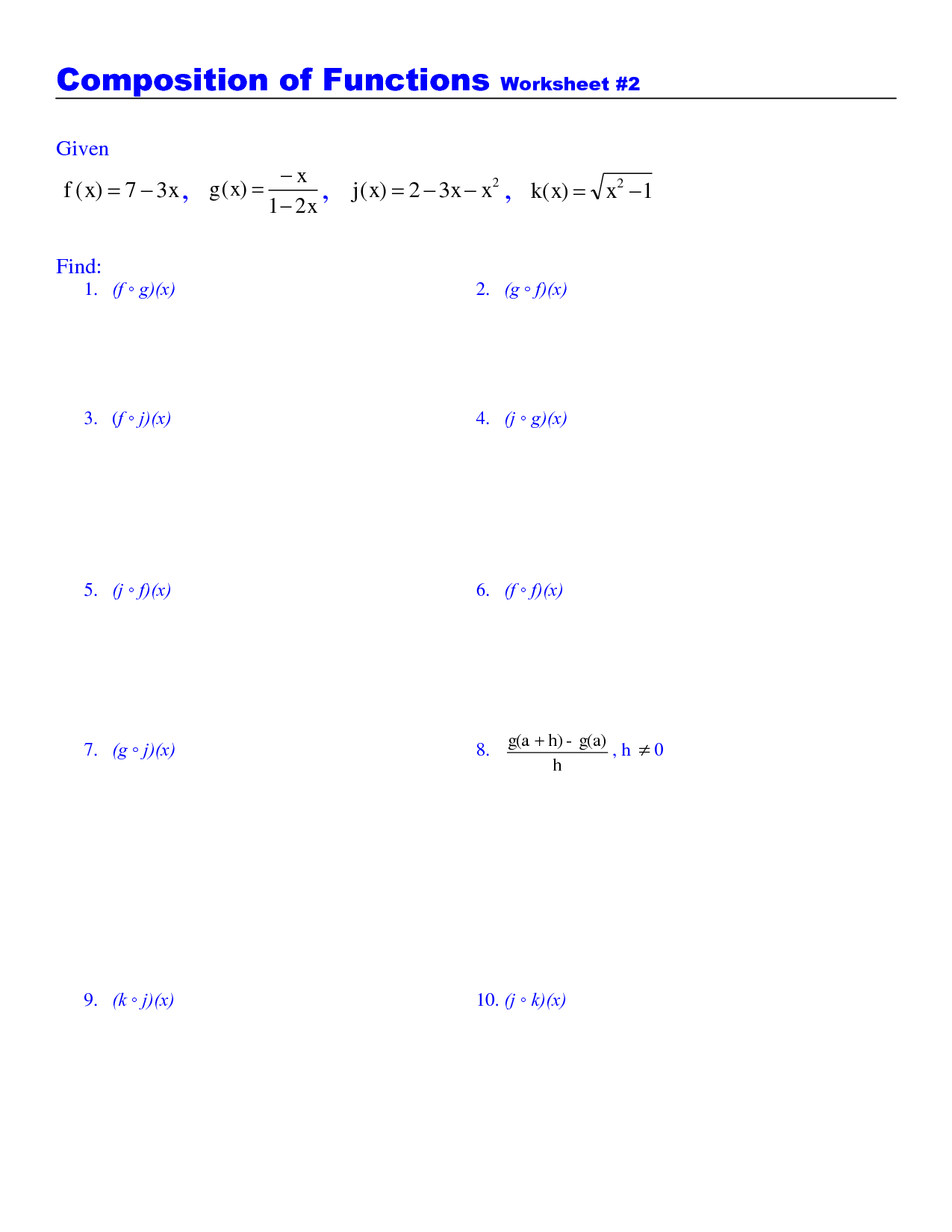 Algebra 2 Inverse Of Linear Functions Worksheet Answers