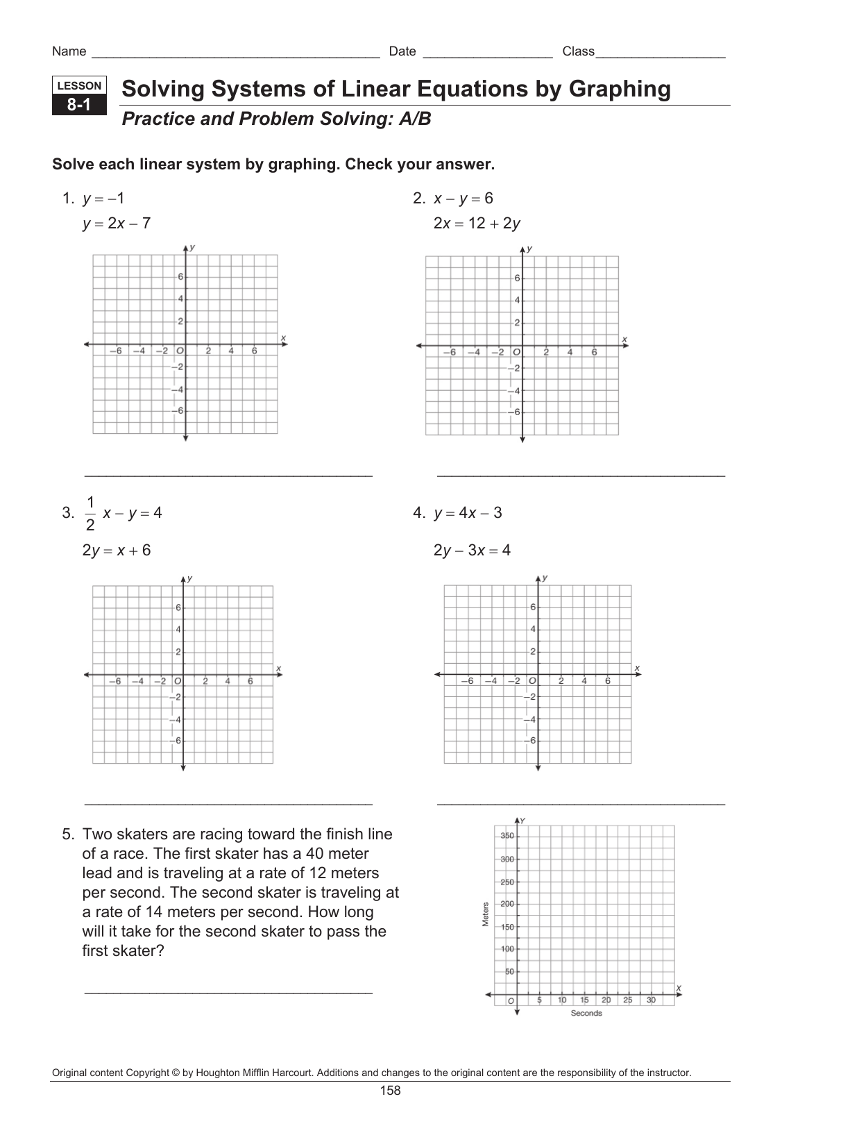 Algebra 2 Solving Systems Of Equations By Graphing