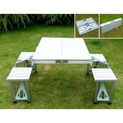 Table de pique-nique en aluminium portable avec 4 chaises