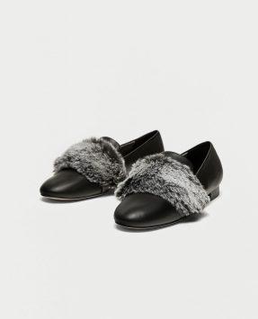 Zara SLIPPERS EN FOURRURE