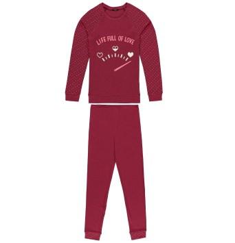 Haut de pyjama à col rond à manches longues avec imprimé texturé et intégral sur les manches et ourlet à revers. Les bas de détails imprimés présentent une ceinture élastique et un ourlet à revers.