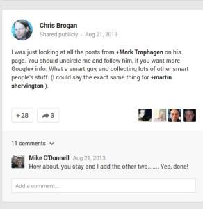 Chris Brogan calls Mark Traphagen THE Google+ expert