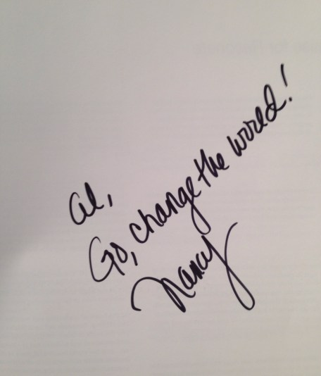 "The message from Nancy Duarte in my signed copy of ""Resonate""."