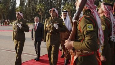جلالة الملك عبدالله الثاني في مقدمة مستقبلي أمير دولة قطر الشيخ تميم آل ثاني