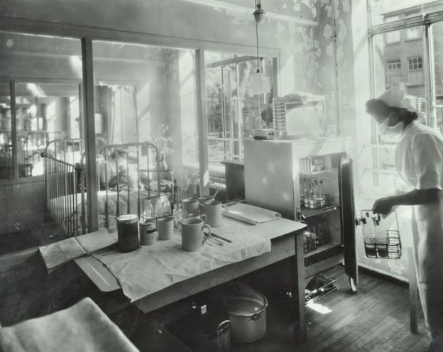 غرفة عزل في مستشفى بهيزر غرين في الاربعينيات