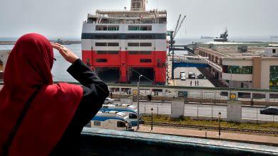 السفينة التي تبحر من الجزائر الى فرنسا مذن بداية ازمة كورونا- ا ف ب