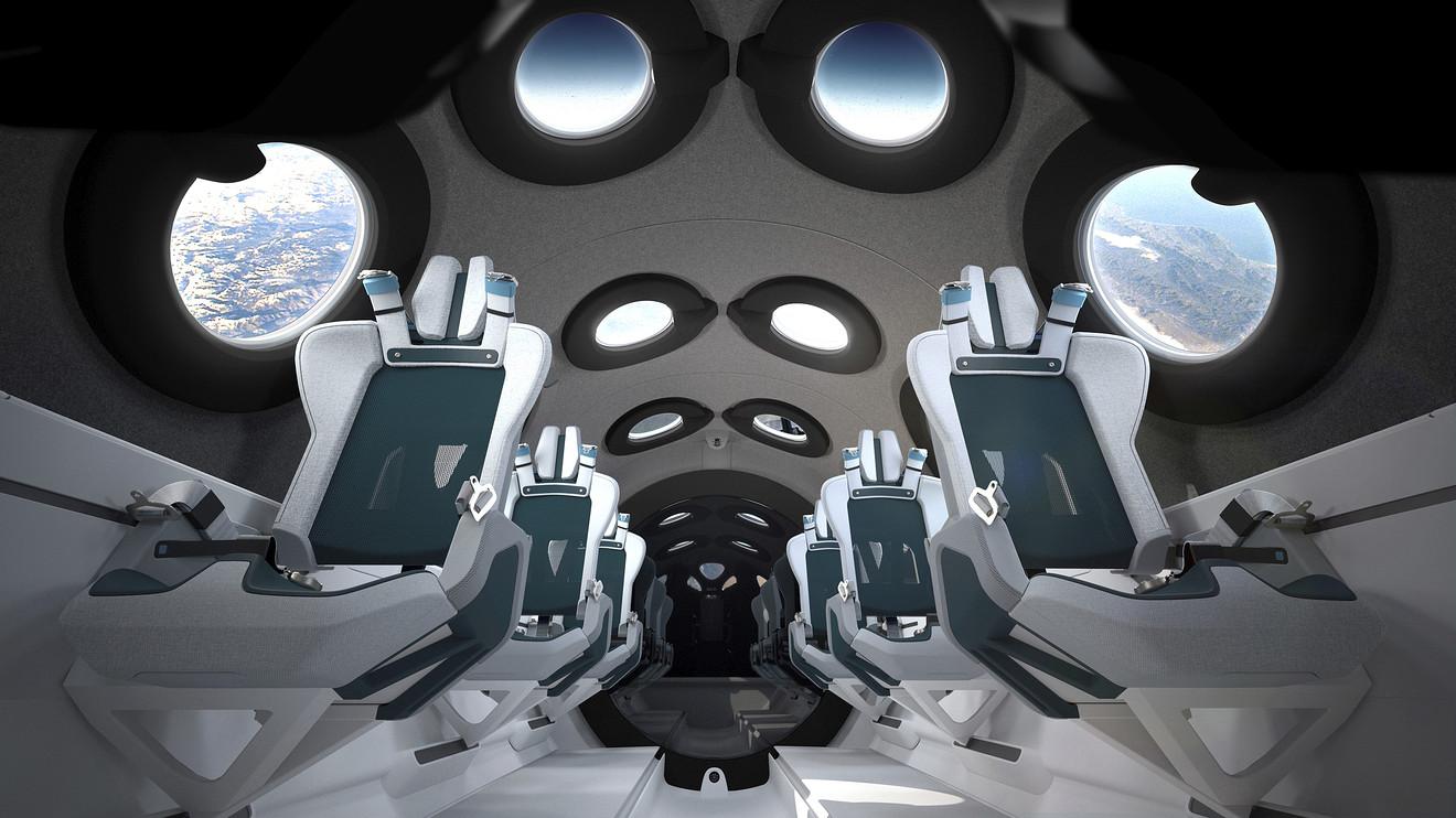 الديكورات الداخلية لمركبة الفضاء السياحية فيرجين غالاكتيك