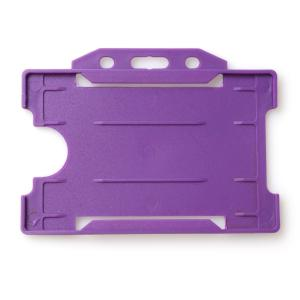 Single-Sided Open Faced ID Card Holder - Landscape (Purple)