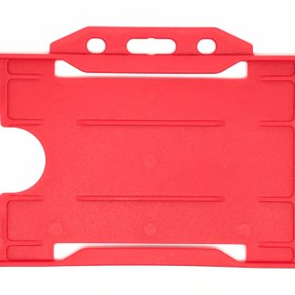 Single-Sided Open Faced ID Card Holder - Landscape (Red)