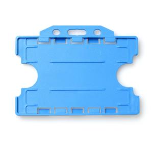 Double-Sided Open Faced ID Card Holder - Landscape (Blue)