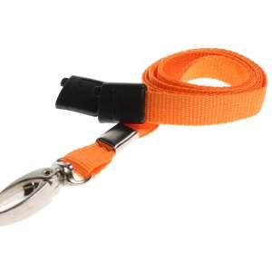 Plain Coloured Lanyards (100 Pack) - Metal Clips - Orange