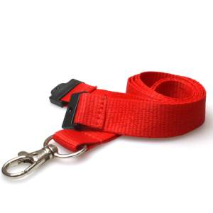 20mm Plain Coloured Lanyards (100 Pack) - Trigger Clips (Red)