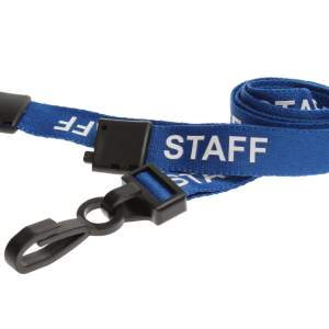 Blue Staff Lanyards with Plastic J Clip (Pack of 100)