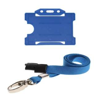 Blue ID Card Holder and Lanyard with Metal Clip